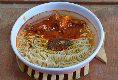 instant noodle with mackerel in ketchup Stock Photo