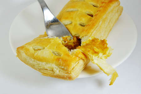 chicken curry: fork in chicken curry filled pie on dish