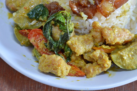 food       plate: green curry fish ball on rice