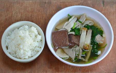 entrails: boiled pork blood and entrails in soup eat with rice