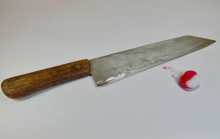 blade cut: knife and cotton with blood Stock Photo