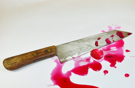 blade cut: knife and cotton with pink fake blood