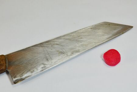 cut and blood: knife and cotton with blood Stock Photo