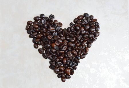 to arrange: coffee bean arrange in heart shape