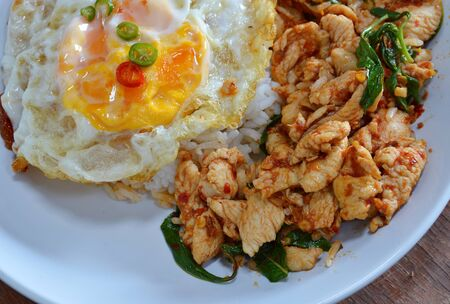 plates of food: spicy stir-fried chicken curry and egg on dish Stock Photo