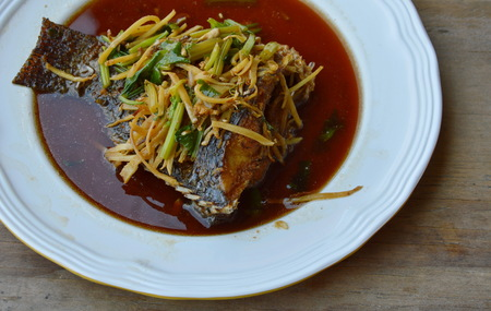 soy sauce: deep fried fish in ginger soy sauce