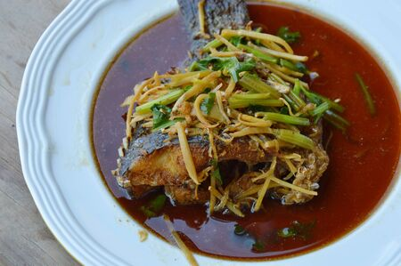 mango fish: deep fried mango fish in ginger soy sauce