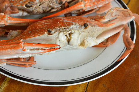 blue swimmer crab: steamed flower crab on dish Stock Photo