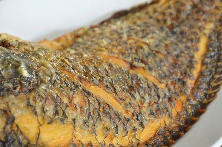 mango fish: deep fried mango fish skin texture on dish