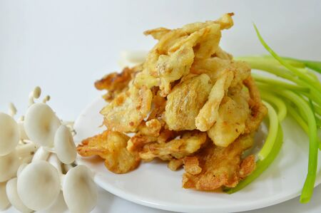 oyster plant: deep-fried oyster mushroom on dish