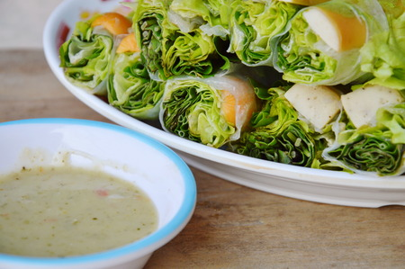 spring roll: Thai fresh spring roll on dish and sour sauce