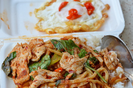 foam box: stir-fried bamboo shoot with chicken curry in foam box for easy lunch