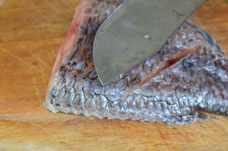 freshwater fish: freshwater fish prepare for cook on wooden chop block