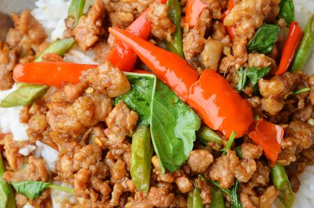 thai basil: stir-fried minced pork with chilli and basil leaves on rice