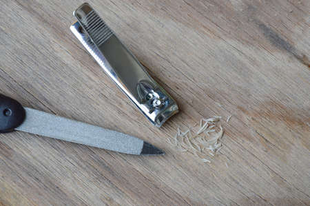 emery: nail clipper and emery file on plank