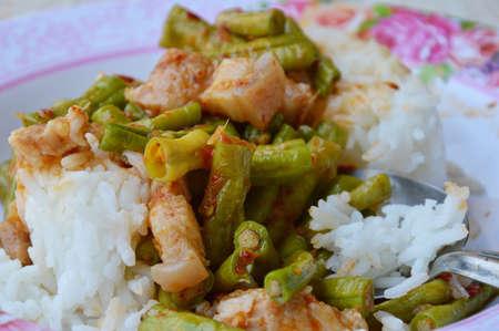 long bean: stir-fried curry yard long bean with fat pork for Thai easy meal