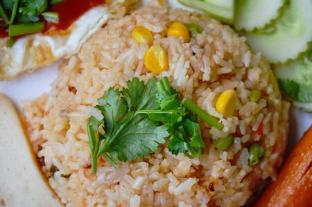 applied: American fried rice Thai applied food on dish Stock Photo