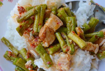 long bean: stir-fried curry yard long bean with fat pork Thai easy meal