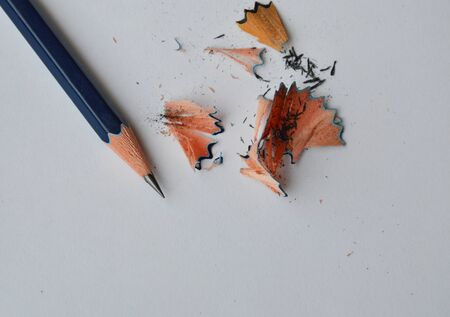 trait: pencil shaving on white paper
