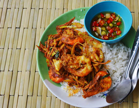 carminative: spicy stir fried shrimp and squid with fish chili sauce cup