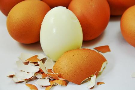 boiled egg: boiled egg peel shell out on white background