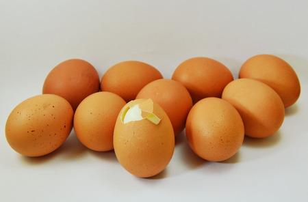 an egg shell: boiled egg shell cracked on white background