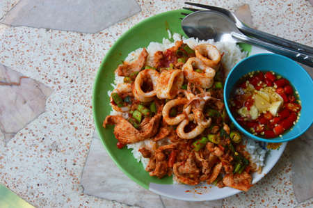 squid: stir-fried curry squid and pork on plain rice