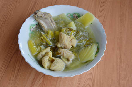 entrails: pickled Chinese cabbage with pork entrails and bone soup in bowl