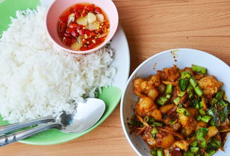 tendon: spicy stir fried pork tendon with herb and plain rice Stock Photo