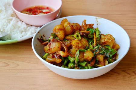 ligament: spicy stir fried pork ligament with herb and plain rice