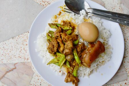 gizzard: spicy stir fried curry chicken entrails and sweet boiled brown egg on rice