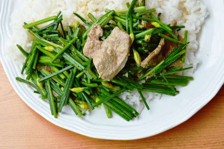 cebollin: stir fried garlic chives with pork liver on rice