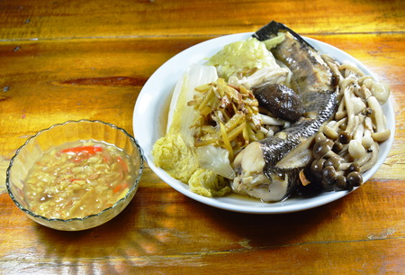 striped snake head fish: steamed snake head fish with mushroom and slice ginger dipping spicy soy bean sauce