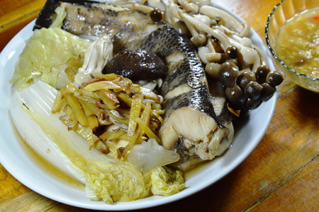 snake head fish: steamed snake head fish with mushroom and slice ginger dipping spicy soy bean sauce