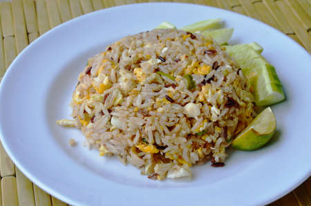 rice plate: fried mixed white and brown rice with crab meat on dish Stock Photo