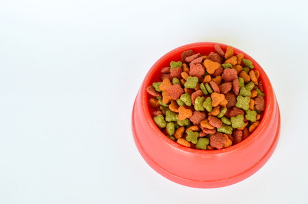 cat food: cat food in red plastic bowl on white background Stock Photo