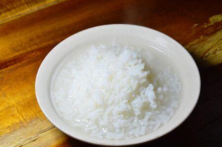 digest: hot rice mush with smoke on bowl