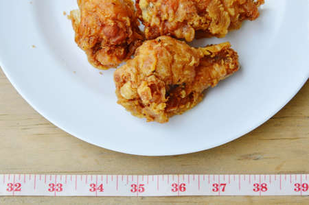 waistline: fried chicken leg and measuring tape for check waistline after eat