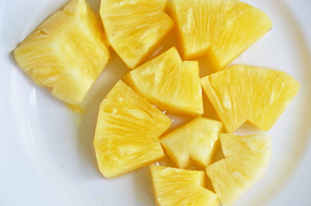 pineapple slice: pineapple slice on white plate