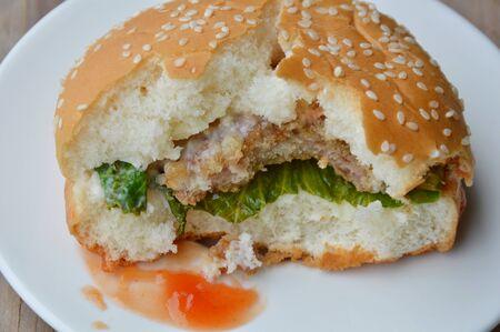 varkensvlees hamburger dressing tomatensaus al bijten op schotel Stockfoto