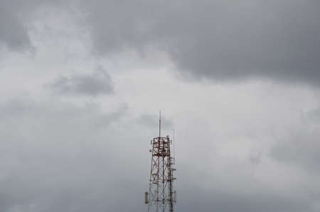 dull: telecommunication tower in dull sky