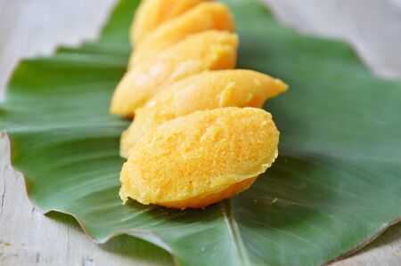 toddy palm: toddy palm cake Thai dessert on fresh banana leaf Stock Photo