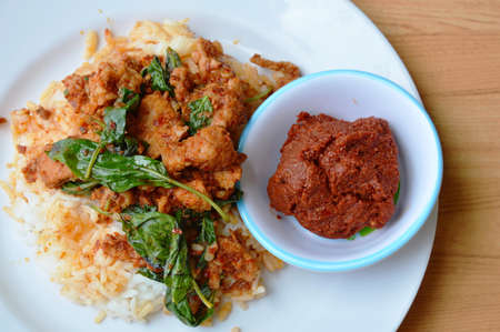 basil  leaf: spicy stir fried pork and basil leaf with red curry and chili paste