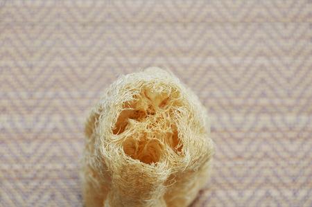 luffa: luffa body scrub on bamboo mat