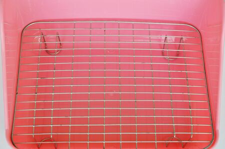 defecate: pink excrete plastic pot for rabbit and rodent used