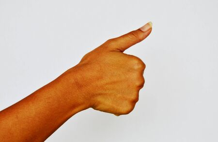 pore: hand make thumb up or one counting on white background Stock Photo