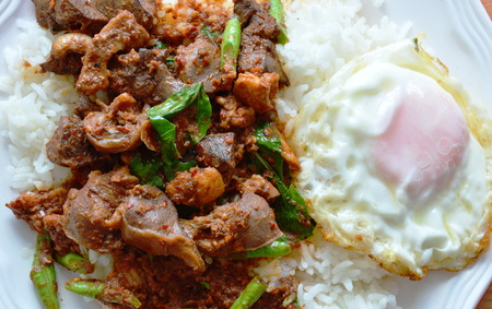 gizzard: spicy stir fried chicken entrails curry and egg on rice