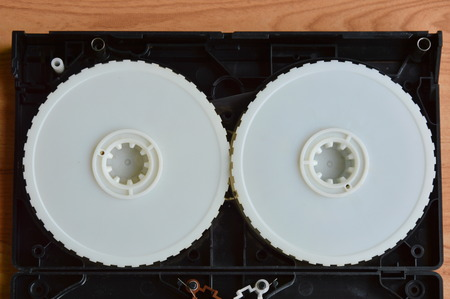 deconstruct: video tape recorder separate parts on table