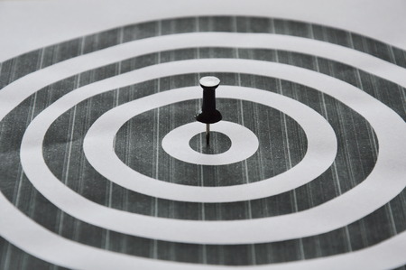 stab: black marker boards stab on circle target Stock Photo