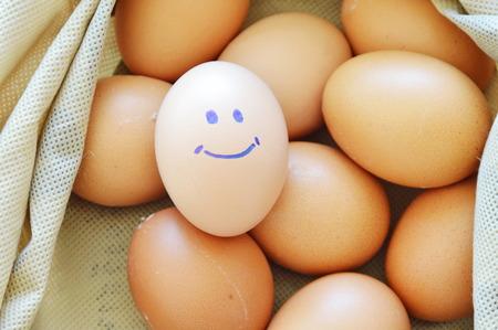 reddish: smile reddish yellow hen egg in fabric bag